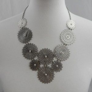 Silver and Pearl Statement Necklace - Vintage